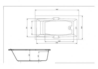 Ванна 190х100 AURORA с ручками